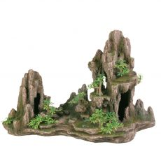 Aquarium Dekoration Fels mit Höhle und Pflanzen