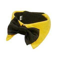 Hundefliege - schwarz mit gelbem Kragen, XXL