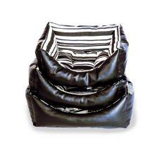 Liegeplatz für Hunde aus Leder, rechteckig, schwarz - S