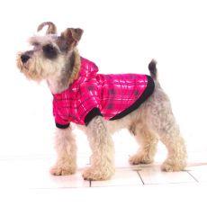 Jacke für Hunde - mit Karomuster, pink, L
