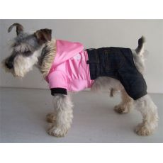 Hundejacke - glänzend pink mit Hosen, XXL