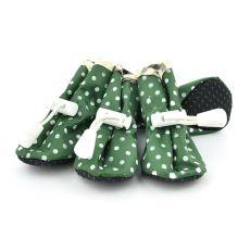 Hundeschuhe grün, gepunktet - Gr. 4
