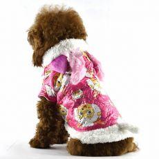 Hundejacke - pink mit Schafbockmotiv, L