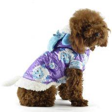 Hundejacke - lila mit Schafbockmotiv, L