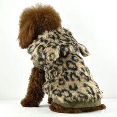 Pelzmantel für Hunde - Leopard mit Kapuze, L