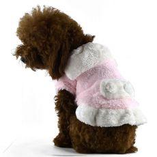 Jacke für Hunde - rosaweiß mit Kragen, XXL