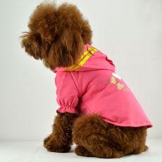 T-Shirt für Hunde - pink mit Kapuze und Aufschrift, XL