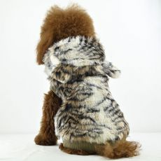 Hunde Pelzmantel - Tiger mit Kapuze, XL