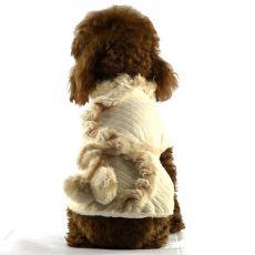 Mantel für Hunde - beige mit Felleinsatz, XL