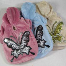Plüschsweater für Hunde mit Schmetterling, blau, XL