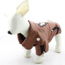 Kunstlederjacke für Hunde - braun mit Adler, XXL