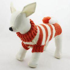 Strickjacke für Hunde - orangeweiß, L