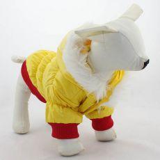 Hundejacke - rotgelb mit Kapuze, L