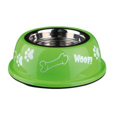 Hundenapf mit Kunststoffmantel, grün - 0,9 L