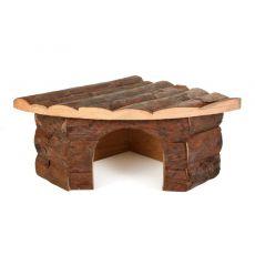 Eckhäuschen für Nager, Holz, - 22x15x10,5cm