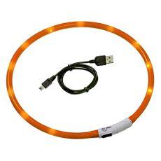 LED Halsband für Hunde DOG FANTASY - orange, 70 cm