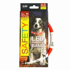 LED Halsband für Hunde DOG FANTASY - rot, 45 cm