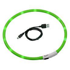 LED Halsband für Hunde DOG FANTASY - grün, 70 cm
