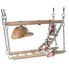 Aufhänge - Klettergerüst aus Holz, zwei Etagen - 27x16x10