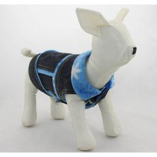 Jeansweste für Hunde - blaue Blümchen, M