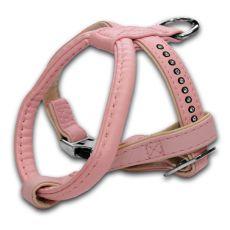 Hundegeschirr mit Steinchen, rosa - 1,5x25x30cm