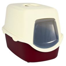 Toilette für Katzen mit einem Türchen und Halter - rot