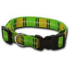 Nylonhalsband für Hunde - kariert, grüngelb 2 x 33-51 cm