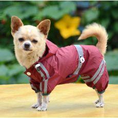 Regenmantel für Hunde mit Reflexstreifen - weinrot, XS
