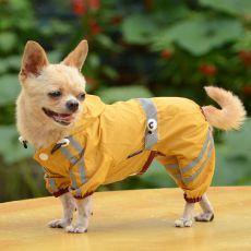 Regenmantel für Hunde mit Reflexstreifen - dunkelgelb, XS
