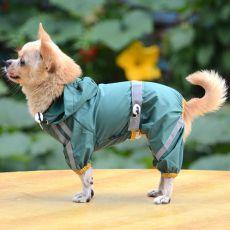Regenmantel für Hunde mit Reflexstreifen - dunkelgrün, XS