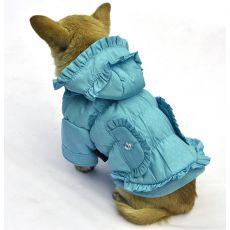 Jacke für Hunde - gepunktet, blau, S