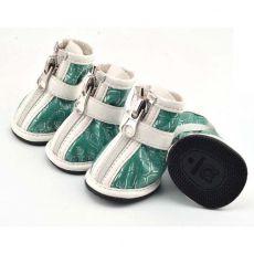 Schuhe für Hunde - silber Print - grün, XL