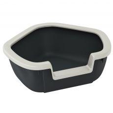 Eckige Toilette für Katzen DAMA - schwarz - 57,5 x 51,5 x 22 cm