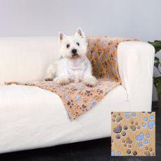 LASLO Decke für Hunde - beige mit Pfoten, 150 x 100 cm