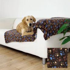 LASLO Hundedecke - braun mit Pfoten, 100 x 70 cm