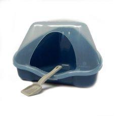 Eckige Toilette mit Deckel NORA 1C blau - 18 x 13 x 11 cm